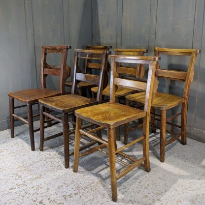 Vintage Set of 6 Classic Old Elm & Beech Church Chapel Chairs 'S'