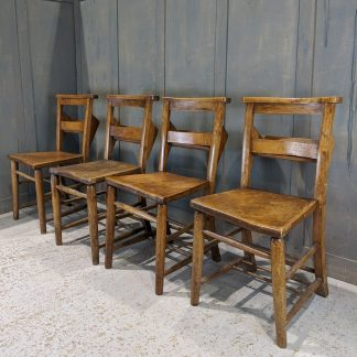 Set of 4 Antique Torquay Elm & Beech Church Chapel Chairs 'T'