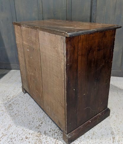 Small Antique Pine Plan Chest with Doors & Brass Handles