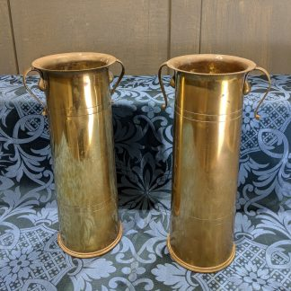 WW1 18 Pounder Shell Trench Art Pair of Brass Flower Vases from St Teilo's Cardiff