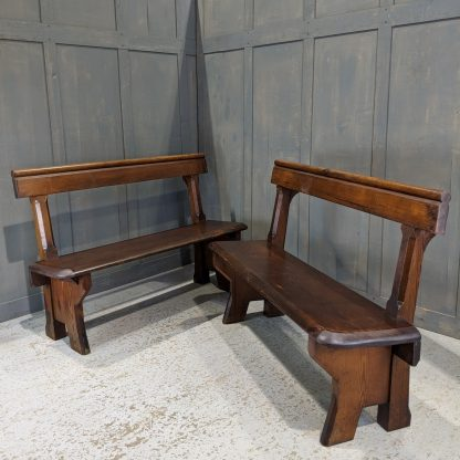 Simple Victorian Pitch Pine Bar Back Benches