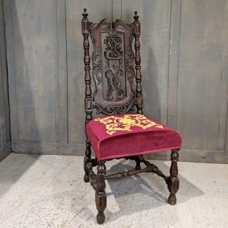 Excellent Quality & Beautiful Antique Reupholstered Carved Carolean Style Chair