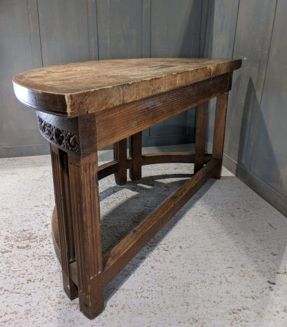 Unusual Antique Carved Demi Lune Heavy Oak Altar Sidetable from Plymouth