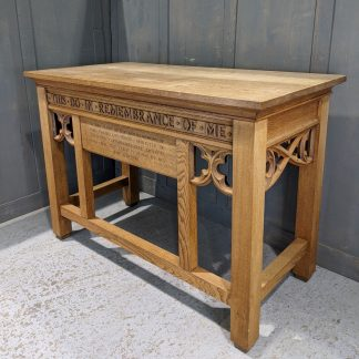 1940's Vintage Oak Gothic Communion Table from Duxford URC 'This Do in Remembrance of Me'