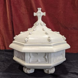 Antique Heavy White Bisque China Gothic Table Baptismal Font