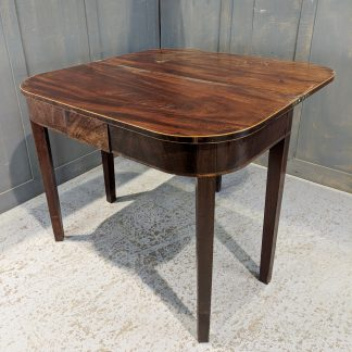 Regency Antique Foldover Inlaid Mahogany D-End Tea Table