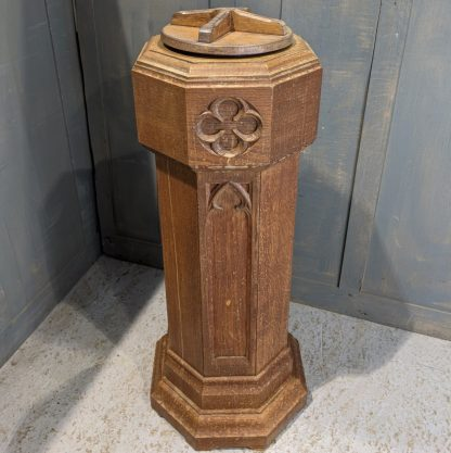 Vintage 1920's Oak Gothic Portable Baptismal Font from St Georges Army Church