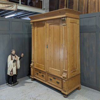 Large Antique Hungarian Stripped & Waxed Pine Armoire Cupboard Wardrobe