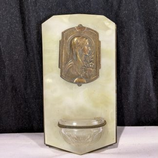 Vintage French 1930's Brass Alabaster & Glass Holy Water Stoop Piscina