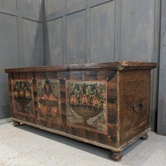 Two Hundred Year Old Large Painted Austrian Dowry Chest
