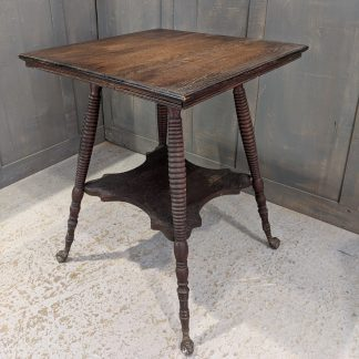Late Victorian Oak Occasional Table with Bobbin Style Legs & Glass Ball Feet