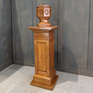 Vintage Portable Oak & Copper Baptismal Font on Oak Pedestal