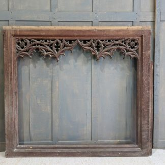 Large Open Antique Gothic Oak Panel - Could be Basis for a Fantastic Mirror Frame