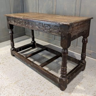 Small Antique Oak Occasional Table with 17th Century Base