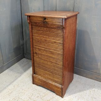 Classic 1930's Smaller Size Oak Tambour Cabinet with Key