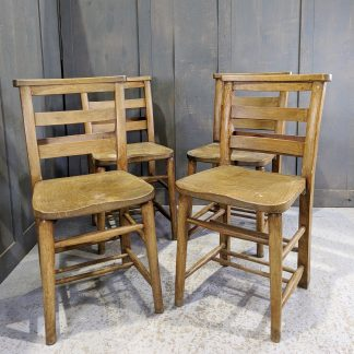 Set of 4 Double Ladderback Church Chapel Chairs in Oak Varnish