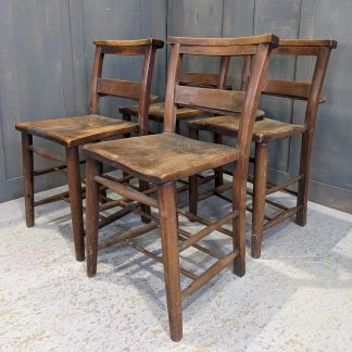 Set of 4 Antique Dundee Square Seat Pointed Top Church Chapel Chairs