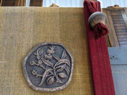 1970's Vintage Handmade Textile & Fired Clay Decorative Church Wall Hanging