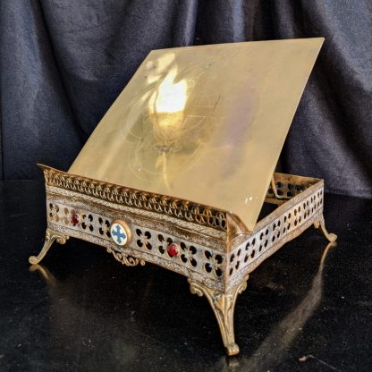 Ornate Antique 19th Century French Missal Stand Book Rest Tabor with Ruby Glass Cabochons