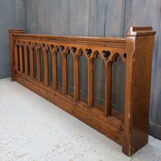 Arched Gothic Pine Church Pew Frontage Panel Panelling with Trefoils