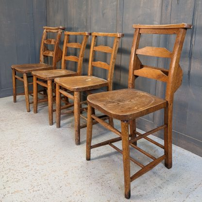 Rugged & Strong Harlequin Set of 4 Ladderback Church Chapel Chairs 'T'