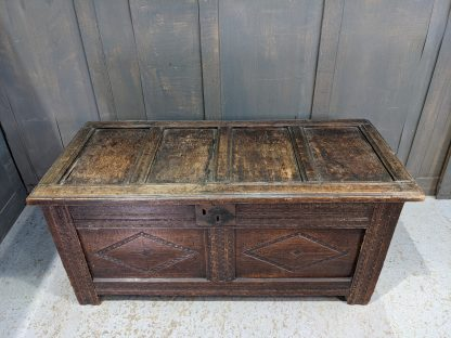 Attractive Smaller Size Antique 18th Century Carved & Panelled Coffer