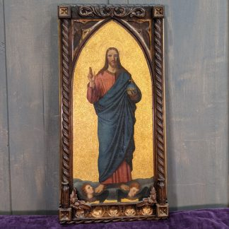 19th Century Oil Painting of Salvator Mundi Christ Giving a Blessing on Gilded Background