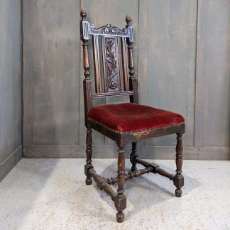 Attractive Victorian Carved Oak Hall Chair with Red Velvet Seat in need of Reupholstery