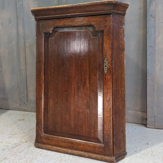 George III Oak Corner Cupboard with Shaped Front Panel & Excellent Colour