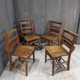 Set of 4 Antique Old Wavy Ladderback Wooden Church Chapel Chairs