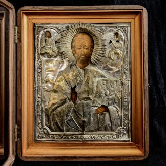 Top Quality Large Antique Cased Russion Icon of Nicholas 'The Miracle Worker'
