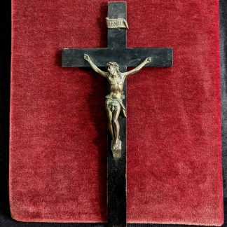 Small Antique Bronze & Wood French Crucifix
