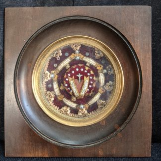 Antique French Reliquary with 8 Relics Housed in a Walnut & Glass Frame