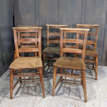 Set of 5 Double Ladderback Antique Beech Church Chapel Chairs with Racks 'Z'