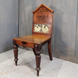 Very Decorative & Unusual Antique Oak Carved Hall Ex-Clergy Chair with Inset Minton Tiles