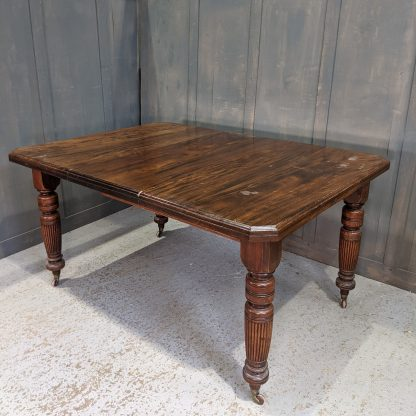Antique Victorian Mahogany Dining Table with One Leaf & Original Castors