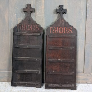 'Crypt Find' Antique Oak Hymnboards from Historic Church in Fleet St London