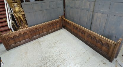 Extra Long Solid Oak Antique Gothic Church Chapel Pew Front Panels