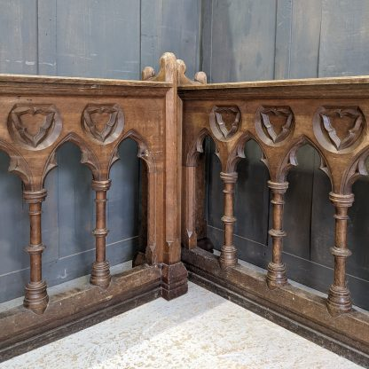 High Quality Antique Gothic Oak Extra Long Pew Fronts Panels with Arches & Columns
