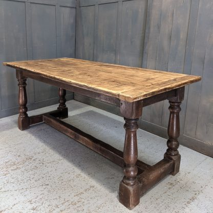 Antique Three Plank Oak Refectory Dining Table with 'Cannon' Legs
