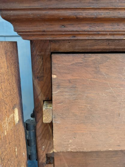 Unusual Antique Gothic Oak Table Top Vestment Cupboard Chest of Drawers