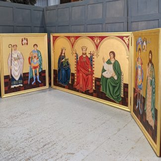 Outsize Handpainted Golden Triptych with Christ & Saints