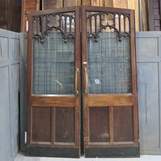 Fantastic Antique Oak Gothic Arched Leaded Glass Internal Church Doors from St Mary's Walthamstow