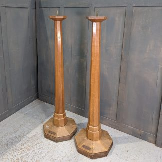 Early 1960's Vintage Monumental Solid Oak Church Pavement Candlesticks with Large Brass Prickets