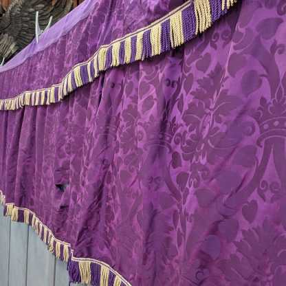 Vintage Long Purple Damask Silk Altar Frontal & Superfrontal Project Material