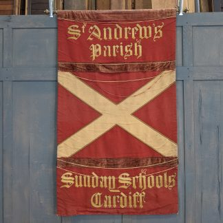 St Andrew's Cardiff Wales Antique Sunday School Banner on Brass Hanging Pole