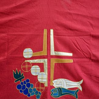 Extra Large Modern Army Church Scarlet Altar Cloth Frontal with Cross, Loaves & Fishes