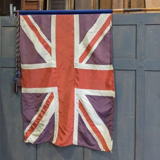 WW2 Era Union Jack Marching Flag with Two Part Pole Tassels & Brass Finial