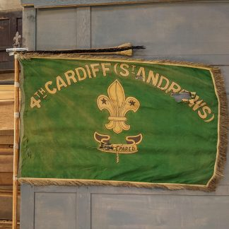 1920's Vintage Green Silk Marching Cardiff Wales Scout Flag with Pole