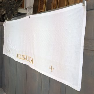 Large White Linen Altar Cloth with Gold Crosses & Alleluia